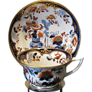 Rare Joseph Machin Cup and Saucer,  English Imari Porcelain, Antique 19th C