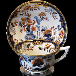 Rare Joseph Machin Cup and Saucer,  English Imari Porcelain, Antique 19th C