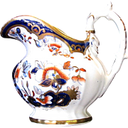 Joseph Machin Creamer, Rare Dolphin Handled Shape, English Imari, Antique 19th C