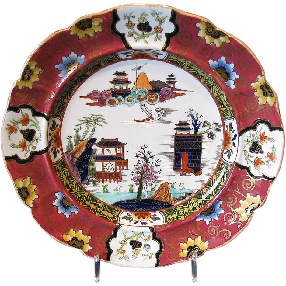 "Mason Ironstone Plate, Red Ground, Richly Enameled & Gilded, ""Canton"" Antique Early 19th C"