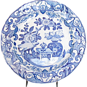 Mason Ironstone Plate, Blue and White English Chinoiserie. Impressed Mark, Antique Early 19th C