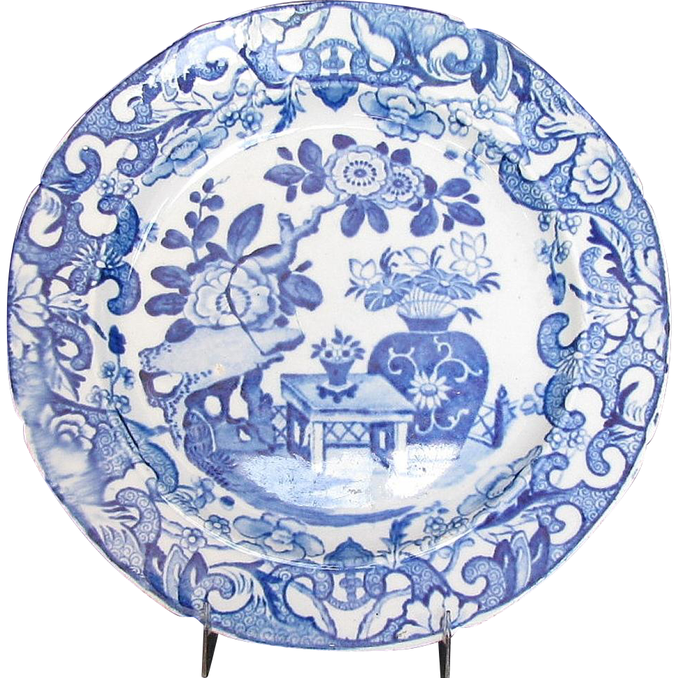 Mason Ironstone Plate, Blue and White English Chinoiserie, Impressed Mark, Antique Early 19th C