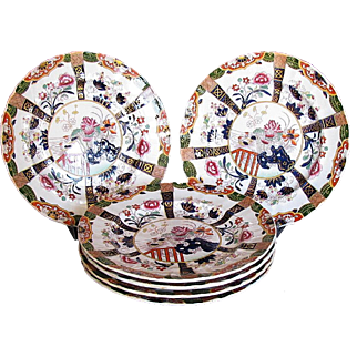 Ashworth/Mason Ironstone Plates, Set of 6, Muscovy Ducks, Antique 19th C English Chinoiserie