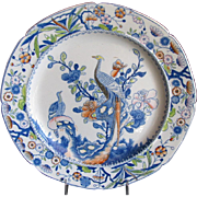 Mason Ironstone Plate, Pheasant, Rare Mark, Antique Early 19th C English Chinoiserie