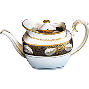 Antique Spode Teapot, Bone China, Rare Variant Shape, Blue & Gold, Early 19th C English