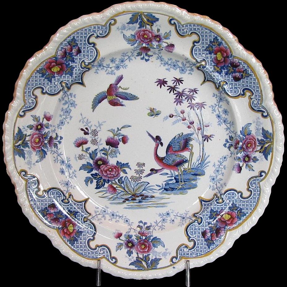 "John & William Ridgway Chinoiserie Stone China Dinner Plate, ""Bandana"" , Antique Early 19th C English"