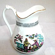"English Chinoiserie Cream Jug, Large,  Antique 19th C Sampson Bridgwood ""Pekin"