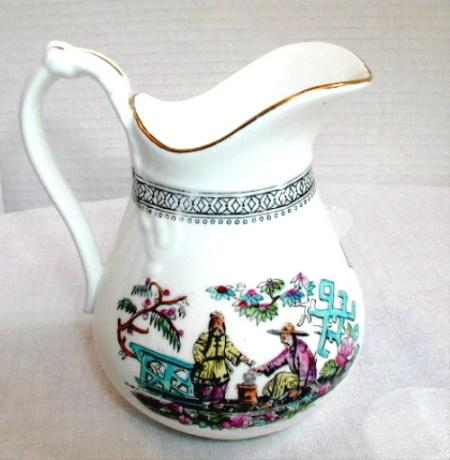Sampson Bridgwood Cream Jug, Pekin, English Chinoiserie, Antique 19th C