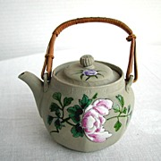 Banko Teapot, Pivoting Finial, Antique Japanese Pottery, Meiji Era