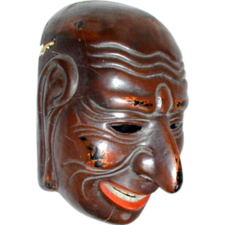 Japanese Lacquer  Mask, Gigaku, Antique, Meiji Era Copy