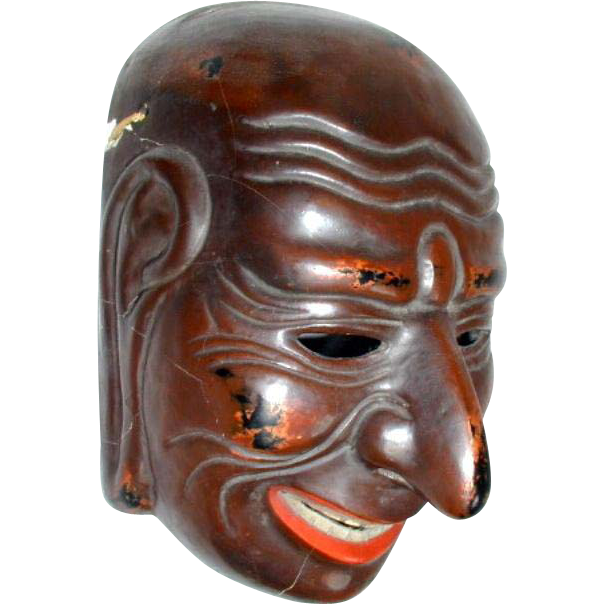 Japanese Mask,  Lacquer on Papier Mache, Antique Meiji Era