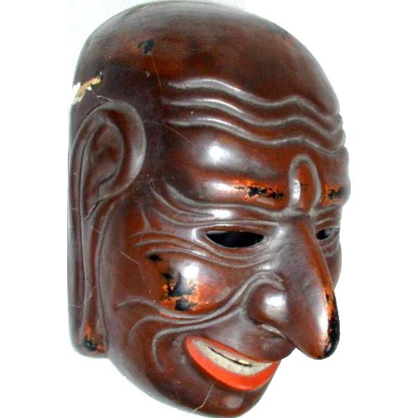 Japanese Gigaku Style Mask,  Antique Meiji Era Copy