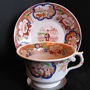 Hilditch Cup & Saucer, Chinoiserie Pattern, Antique 19th C English