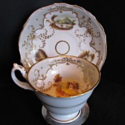 Staffordshire Porcelain Cup & Saucer, Handpainted Landscapes, Antique English, c1835