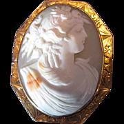 Antique Cameo Brooch, Harvest Goddess, Large, 10K Gold Frame