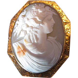 Antique Cameo Brooch, Harvest Goddess, Large, 10K Gold Frame