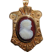 Cameo Brooch, Carnelian Hardstone, Antique 19th C Etruscan Revival