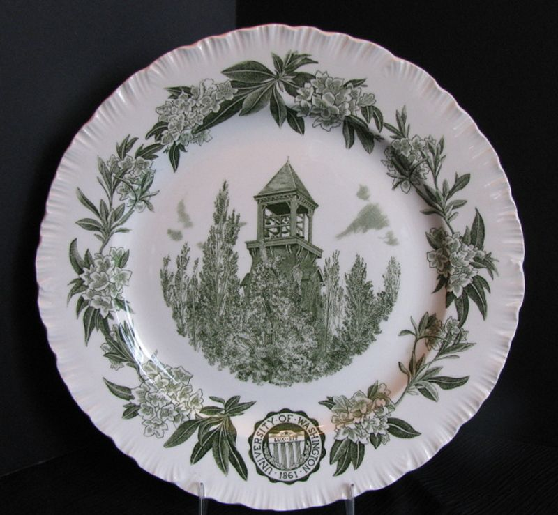 Wedgwood Plate, University of Washington, Chimes Tower, Green,  Vintage