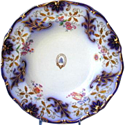 Davenport Soup Plate,  Armorial,  Cobalt & Gold, Antique 19th C English Porcelain