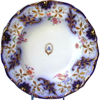 Davenport Soup Plate,  Armorial,  Cobalt & Gold, Antique Early 19th C English Porcelain