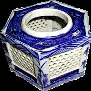 Sake Cup Stand or Hai Dai, Blue & White, Antique 19th C Japanese