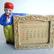 Porcelain Dutch Boy Standing Calendar or Card Holder,  Made in Japan