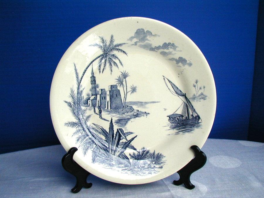 Gien Faience Plate, Blue & White, Harbor Scene,  Antique 19th C French