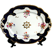 John Ridgway Porcelain Platter, Handpainted Flowers, Blue & Gold, Antique Early 19th C English