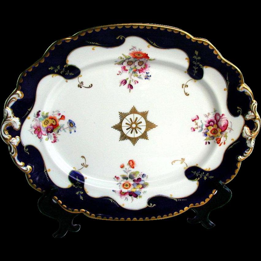 John Ridgway Porcelain Large Dish, Handpainted Flowers, Blue & Gold, c1835  English