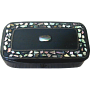 Papier Mache Snuff Box, Inlaid Abalone Shell, Antique 19th C