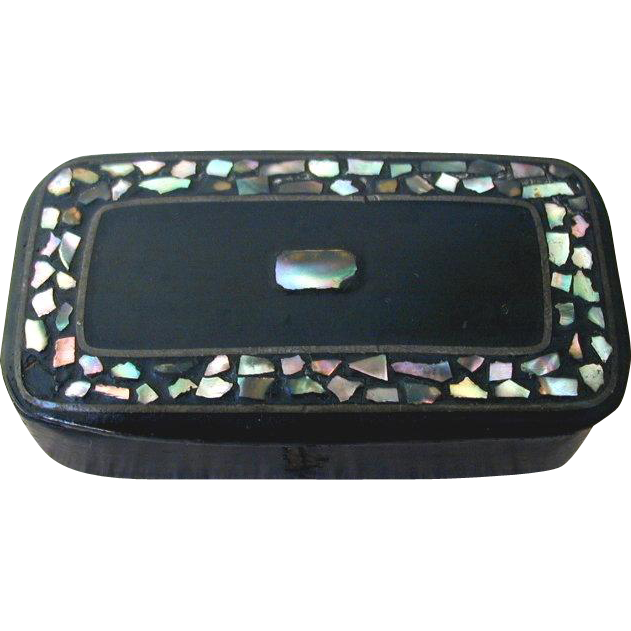 Papier Mache Snuff Box, Inlaid Abalone Shell, Antique 19th C