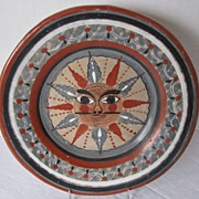 Tonala Plate, Burnished Pottery, Whimsical Sun Face, Vintage Mexican