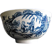 "Worcester Tea Bowl, "" Mother and Child and Man Fishing"" Antique 18th C"