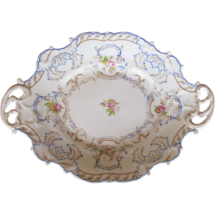Chamberlain's Worcester Large Dessert Dish, Antique 19th C English