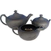 Wedgwood Basalt Tea Set: Teapot, Creamer & Sugar, Vintage c 1930