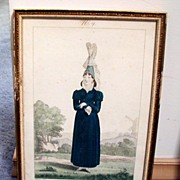 French Costume Print, Gatine/Pecheux, Cauchoise, Antique 19th C
