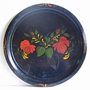 Vintage Tole Tray, Hand Painted, Good Folk Art Look