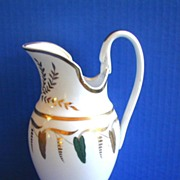 Austrian Porcelain Large Pitcher or Jug, Swan's Head Handle, Antique Early 19th C
