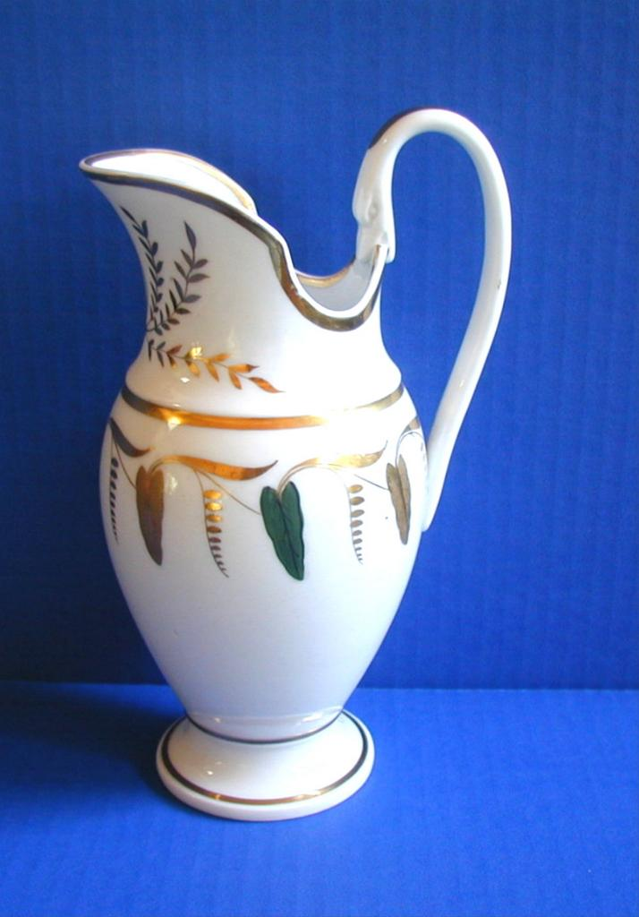 Austrian Porcelain Large Pitcher or Jug, Swan's Head Handle, Antique c 1820