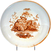 English Porcelain Dessert Dish, Cupid with Basket,  Antique c1810