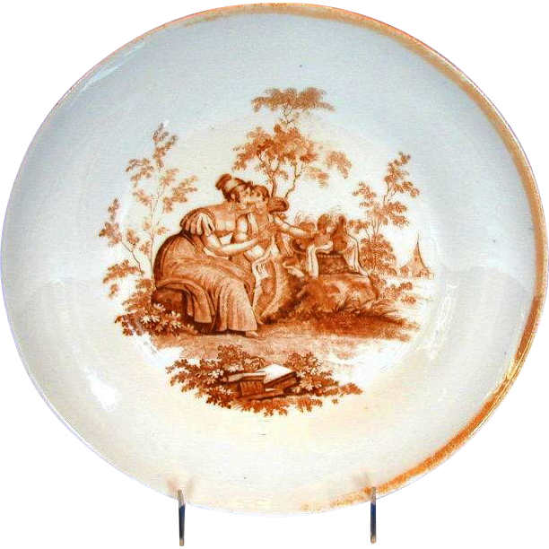 Ridgway Porcelain Large Bowl, Cupid with Basket of Hearts,  Antique English, c1825