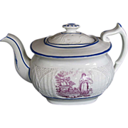 "Antique Teapot,  ""Faith"", English Porcelain, Basket Weave Molding, Early 19th C"