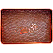Japanese Negoro Lacquer Large Tray, Red & Black, Kamakura Carved, Vintage