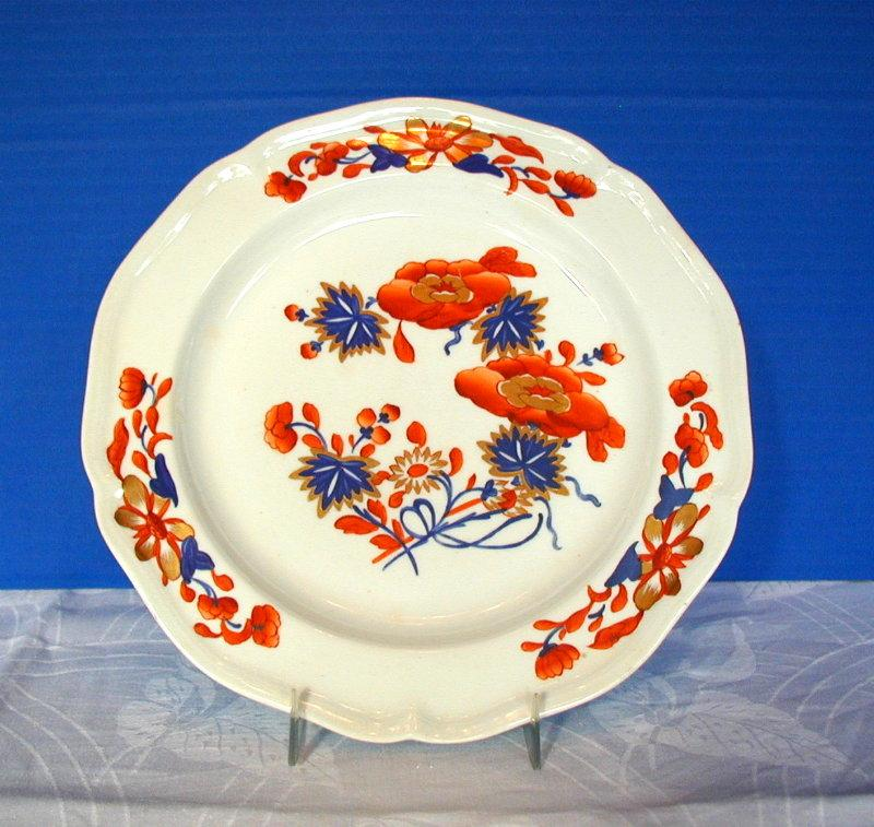 Early Derby Plate, Chinoiserie with Imari Colors, Antique 19th C