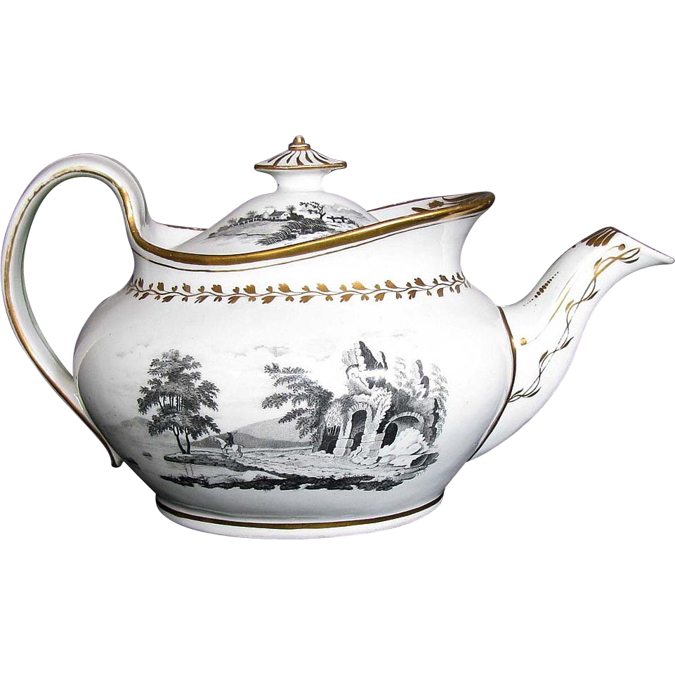 Rare New Hall Porcelain Teapot,  Boat Shaped, Antique Early 19th C English