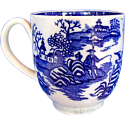 Worcester Coffee Cup, Fisherman and Cormorant, Blue & White Porcelain, Antique 18th C
