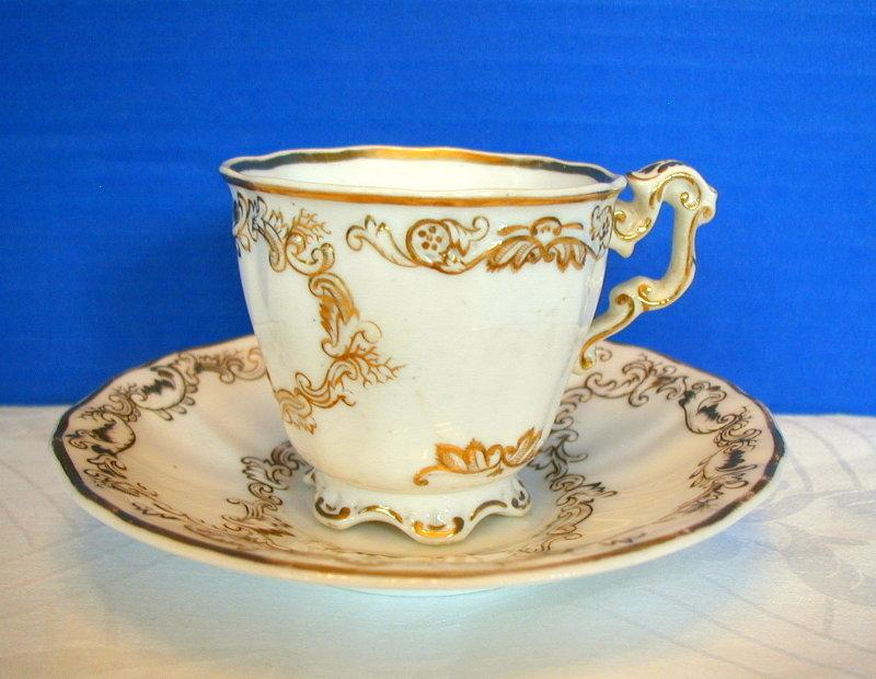 Copeland & Garrett Cup & Saucer, Felspar Porcelain, Antique 19th C English, As Is