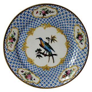 Antique Ornithological Plate, Hand Painted Blue Exotic Bird, Raised Gold, Early 19th C French Porcelain