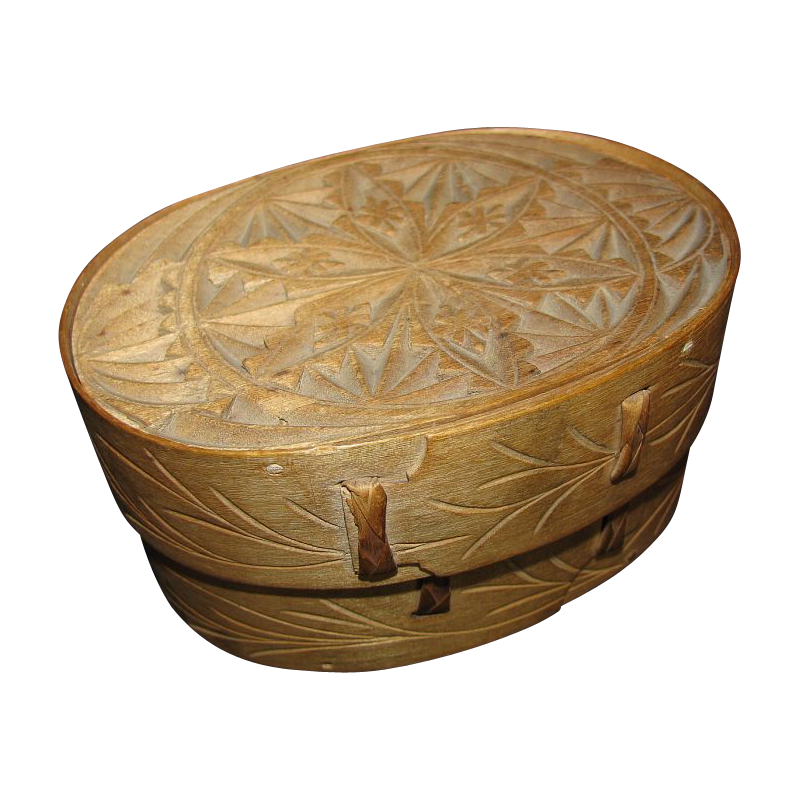 Best Wood Chip Carving : Norwegian bent wood chip carved oval box sveiping ?skjer antique
