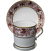 "Spode Coffee Can & Saucer, Rare ""Pluck and Dust"" Technique, Antique Early 19th C"